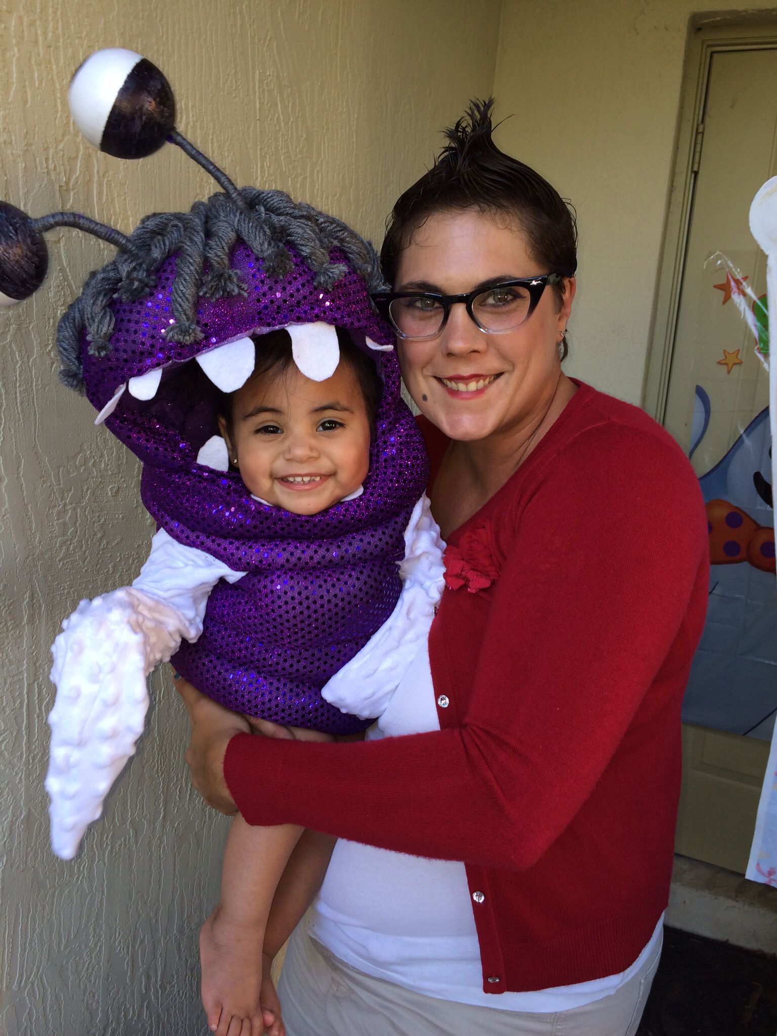 monsters inc. halloween costumes boo and roz homemade. | halloween