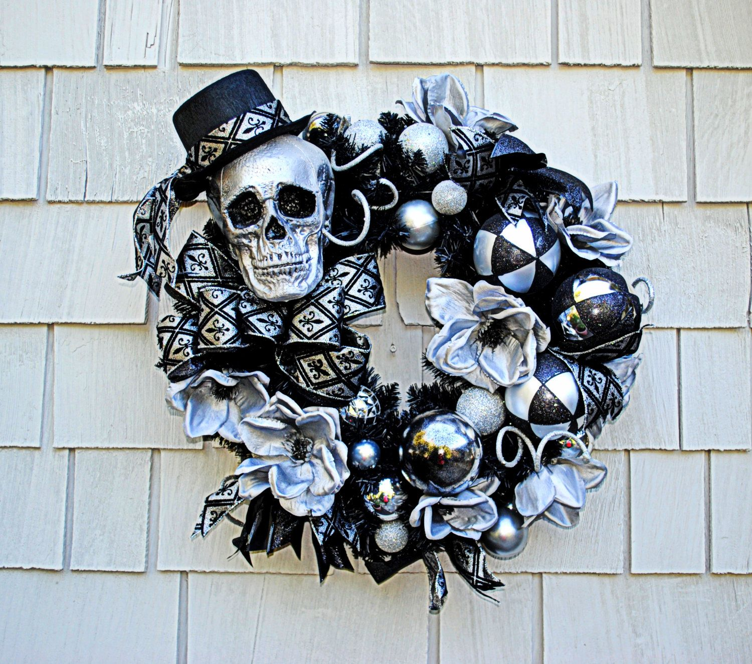 Halloween Wreath, Skeleton Wreath,  Spooky Black and Silver Theme, Black and…