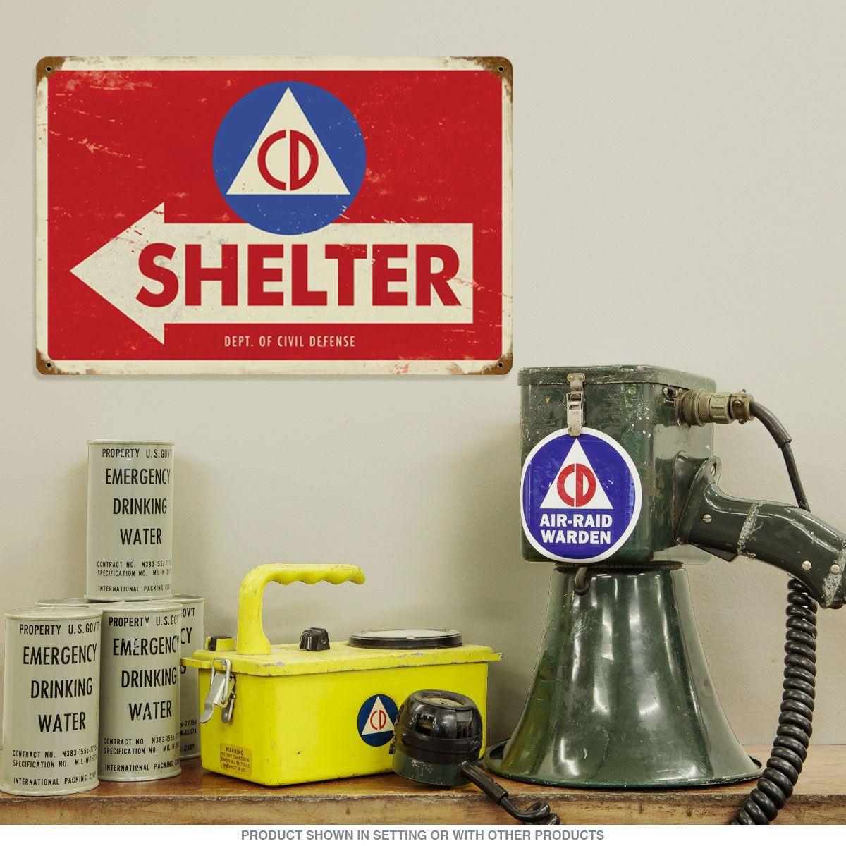 Civil Defense Shelter Arrow Metal Military Sign Air Raid Shelter Military Signs Civil Defense