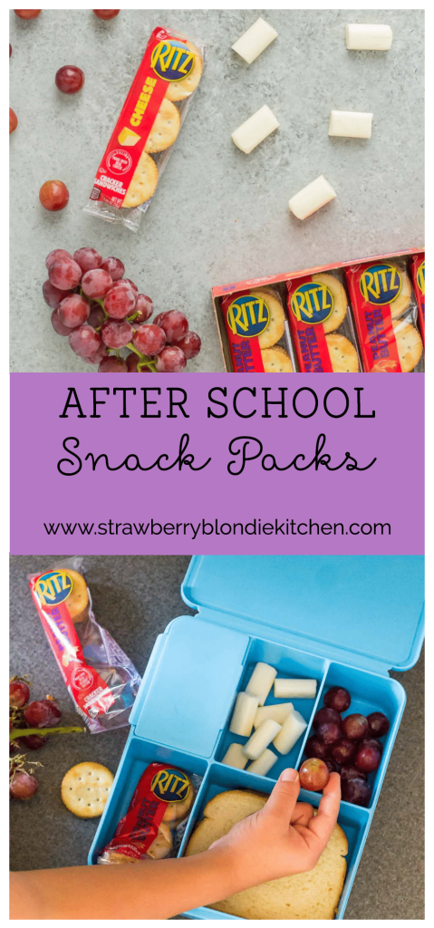 Kids starving after a long day of school?  Be prepared for when hunger strikes with After School Snack Packs featuring RITZ Filled Cracker Sandwiches and all their favorites!  | Strawberry Blondie Kitchen AD #RITZFilledBackToSchool