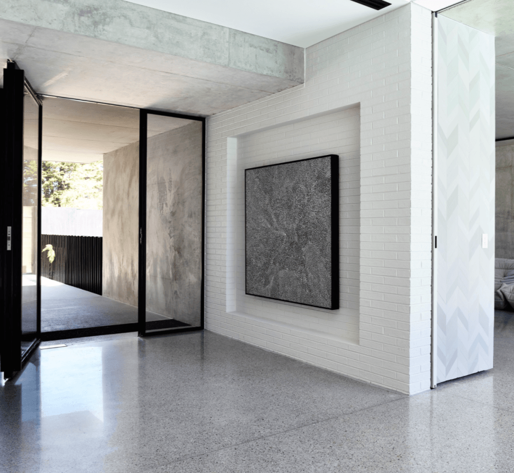 contemporary casual | white brick walls, concrete and bricks