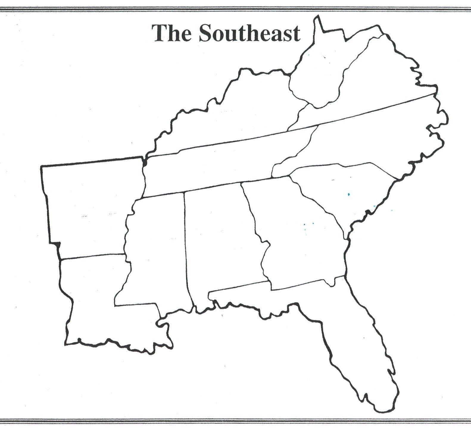 Interesting Blank Us Map Quiz Printable South Eastern