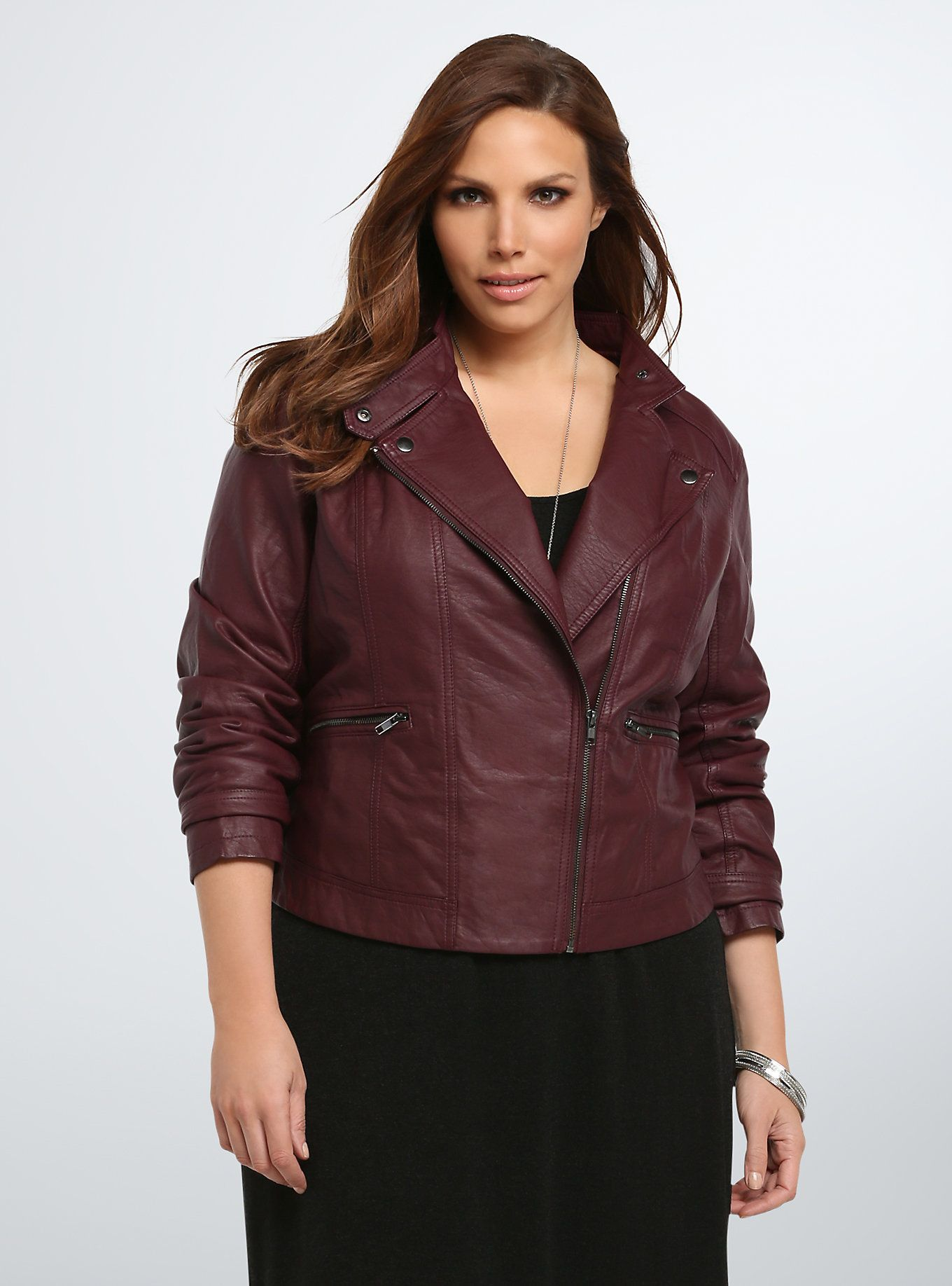 Faux Leather Seamed Moto Jacket Leather jacket outfits