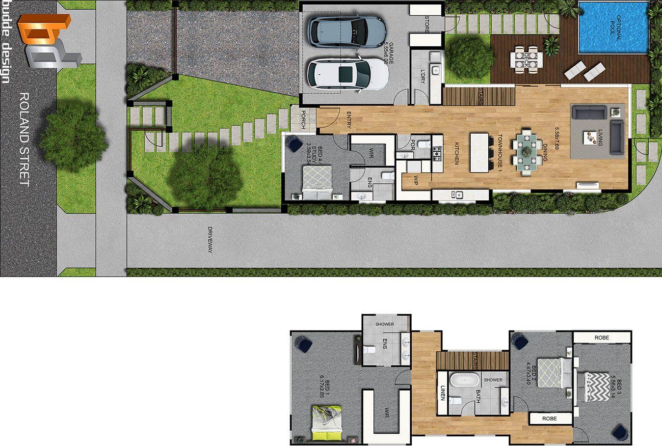 2d Colour Floor Plan 2 Level Home Floor Plans Site Plans Level Homes