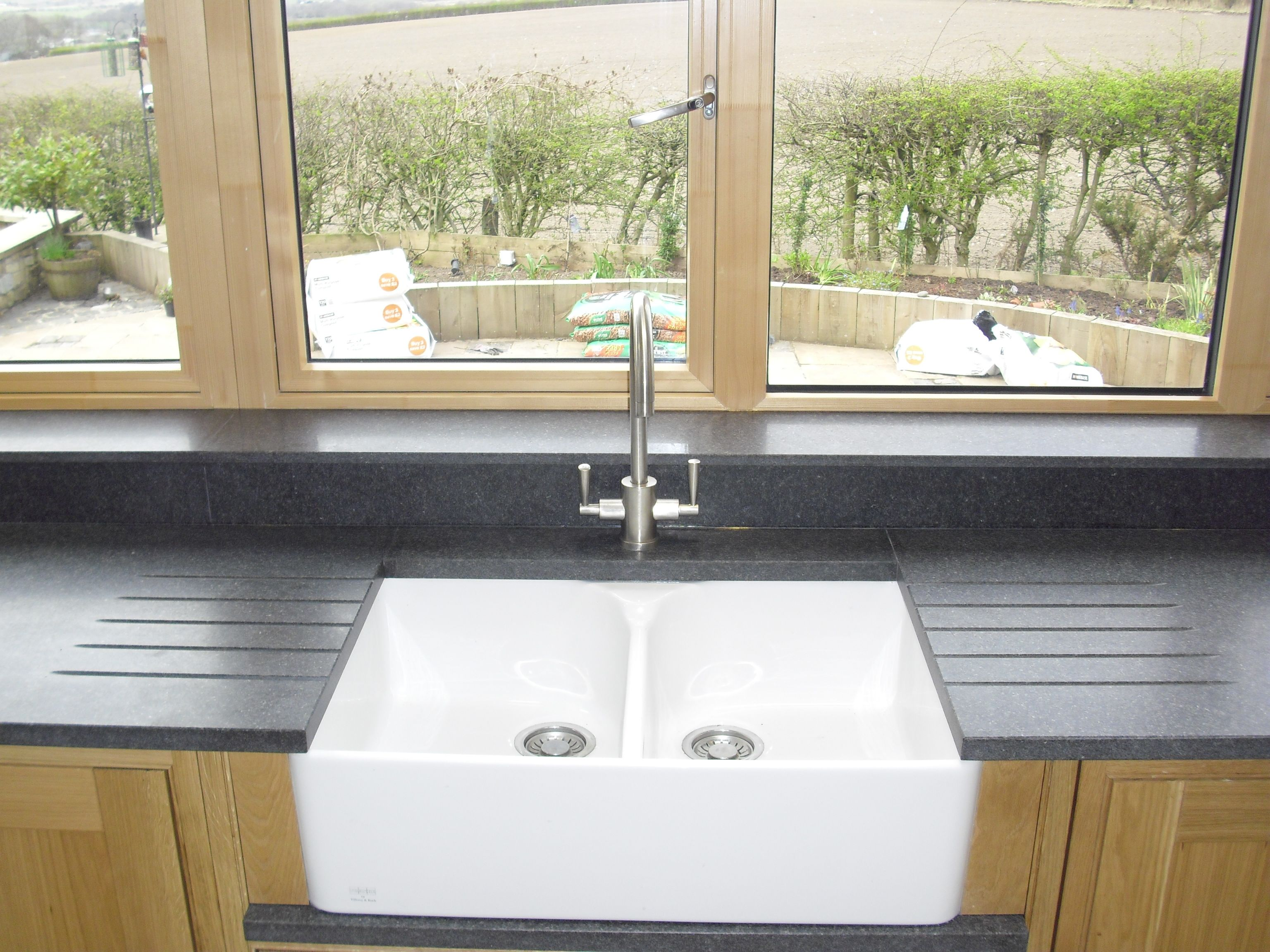 Bathroom worktop ideas -  Neroimpala Granite Honed Finish Double Belfast Sink And Double Sets Of Drainer