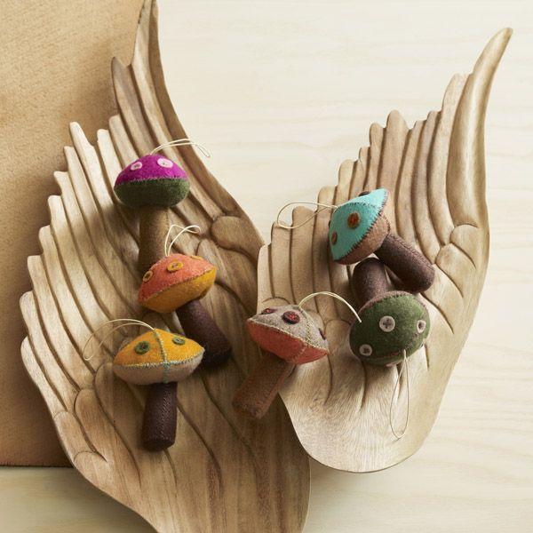 Enchanted Mushroom Felt Ornaments By Roost