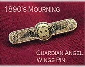 10K GF 1890s Mourning - Guardian Angel Face Wings Taille d Epergne Enamel Pin Brooch -  Victorian