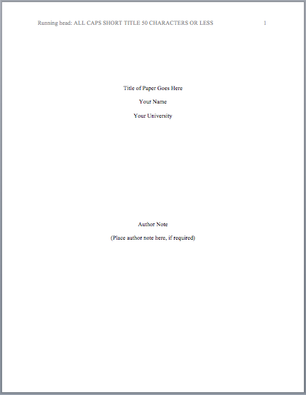 Creating an APA Title Page