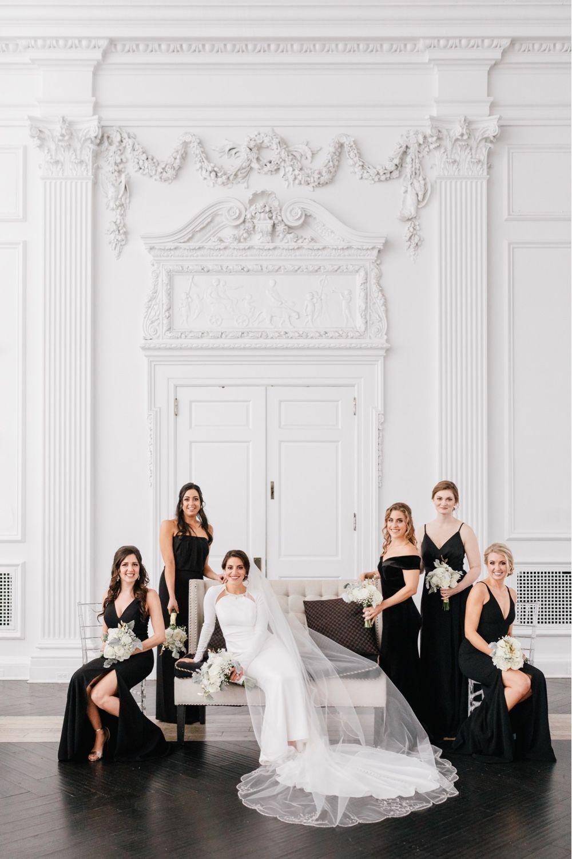 Philadelphia Wedding New Years Eve Wedding Vogue Wedding Bridesmaid Black Dress Vogue Wedding Black Wedding Photos New Years Wedding