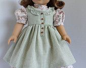 Prairie Ruffles Pinafore and Dress for Kirstin and Most 18 in Dolls