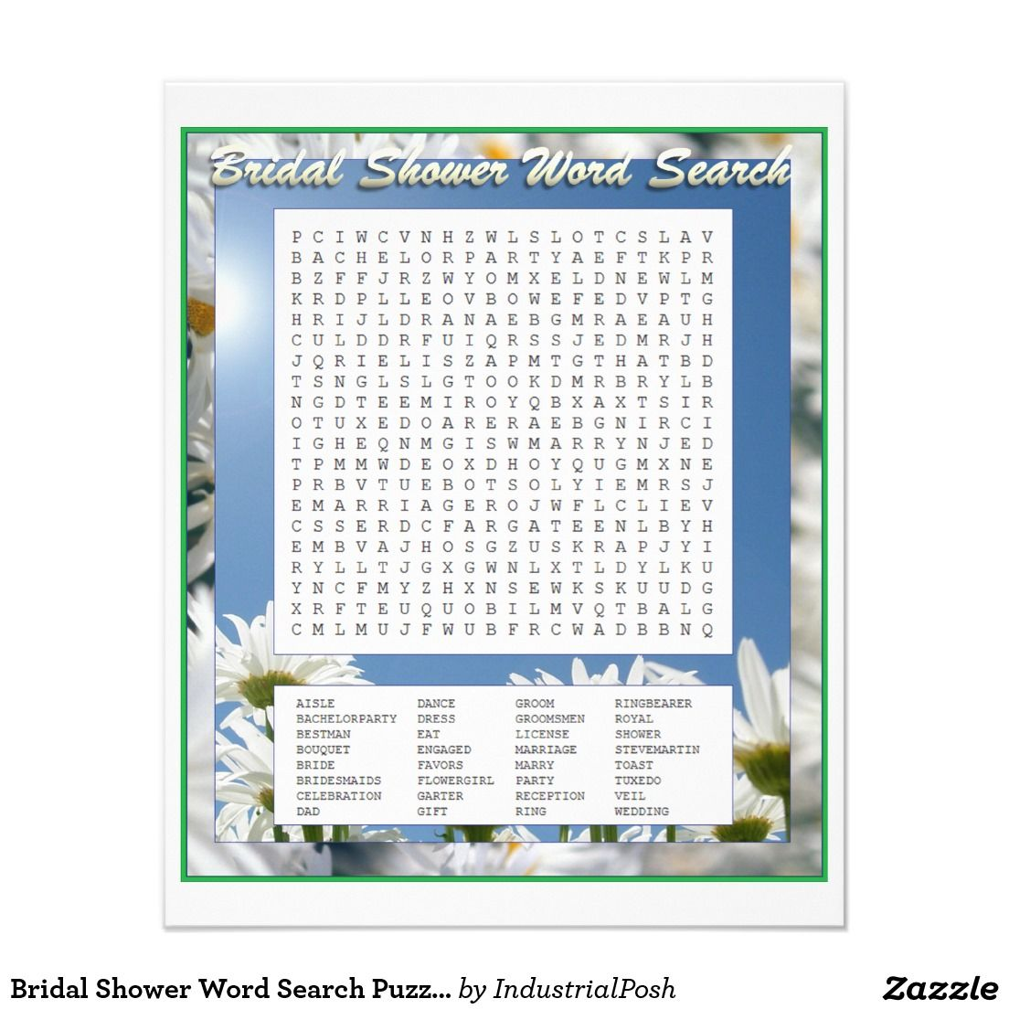 Bridal Shower Word Search Puzzle Game Wedding Bridal Shower Games