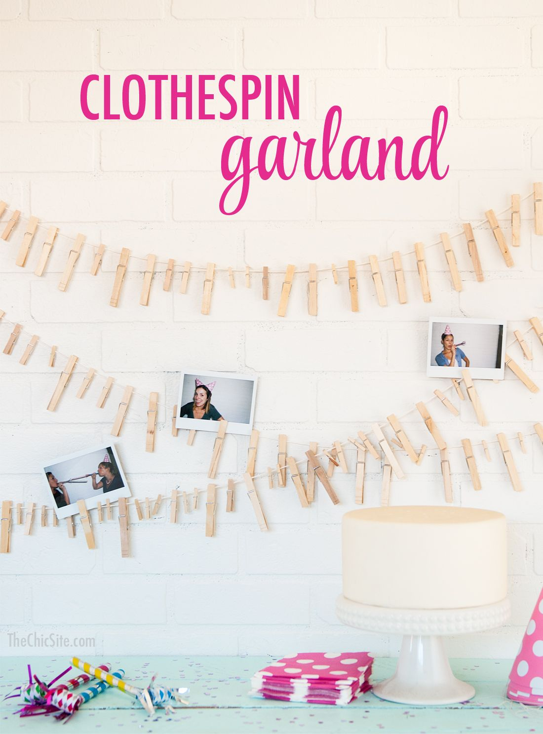 Simple Birthday Garland ~ using Clothespins and kitchen twine
