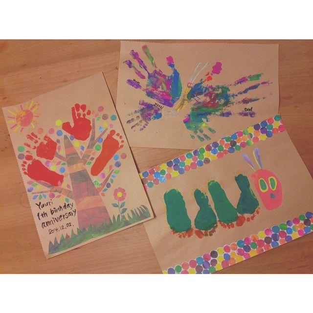 木とちょうちょとはらぺこあおむし Kids 手形足形アート 手形アート