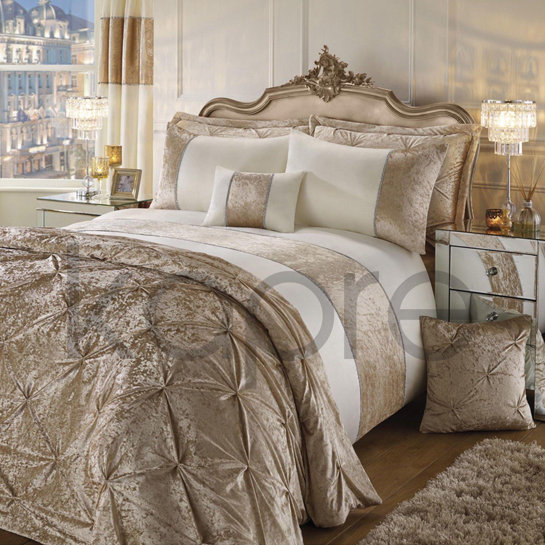 Best Luxury Crushed Velvet Diamanté Duvet Cover Set Bedding 640 x 480