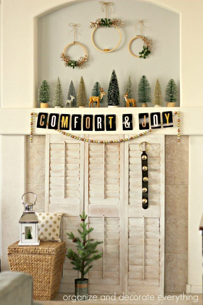 Comfort and Joy Christmas Mantel in metallics and glitter