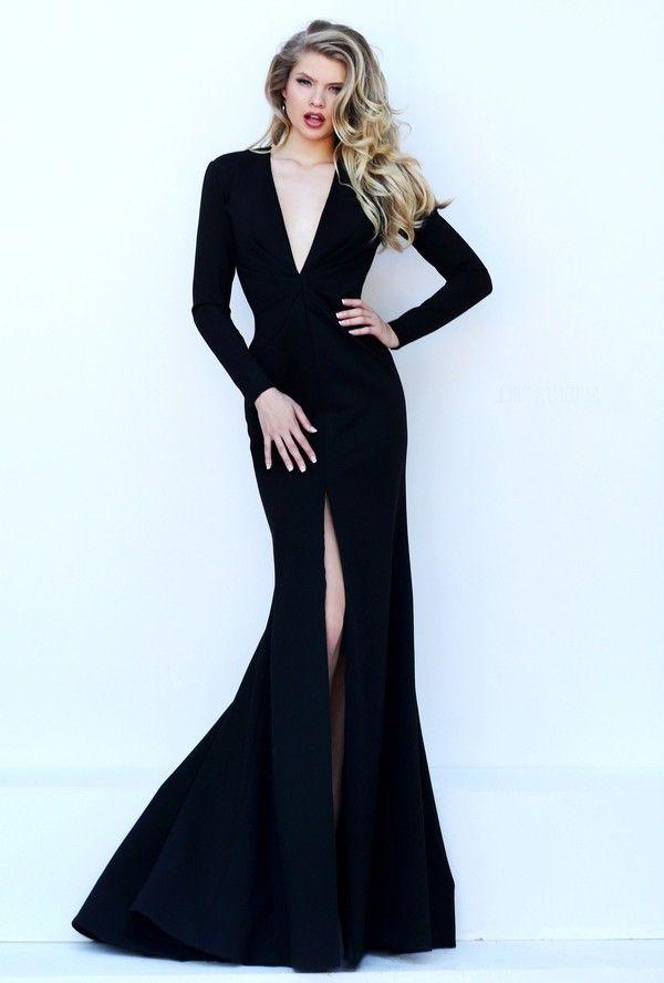 537f4ac6d39 Sexy Deep V Neck High Slit Long Sleeve Black Satin Evening Dress Open Back