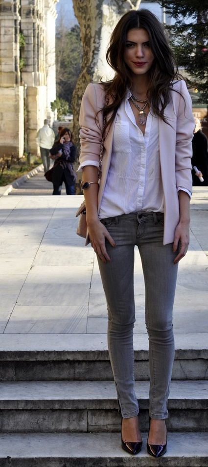 13eb9c2c5fd Ok so I ve recently bought some grey jeans and I m looking for some outfit  ideas. Any other suggestions   White shirts and a chic blazer are a classy  take ...