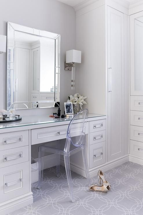 Built In Dressing Table With A Lucite Vanity Chair In This Design By The Very Talented Tara Fingold Built In Dressing Table Dressing Room Decor Built In Vanity