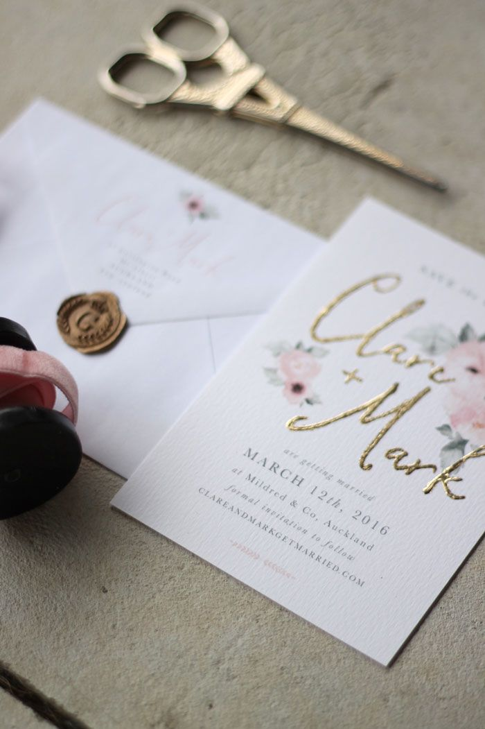 Just my type wedding stationery and wedding invitation design nz just my type wedding stationery and wedding invitation design nz pretty floral pink gold watercolour roses peonies save the date pinterest convites stopboris Gallery