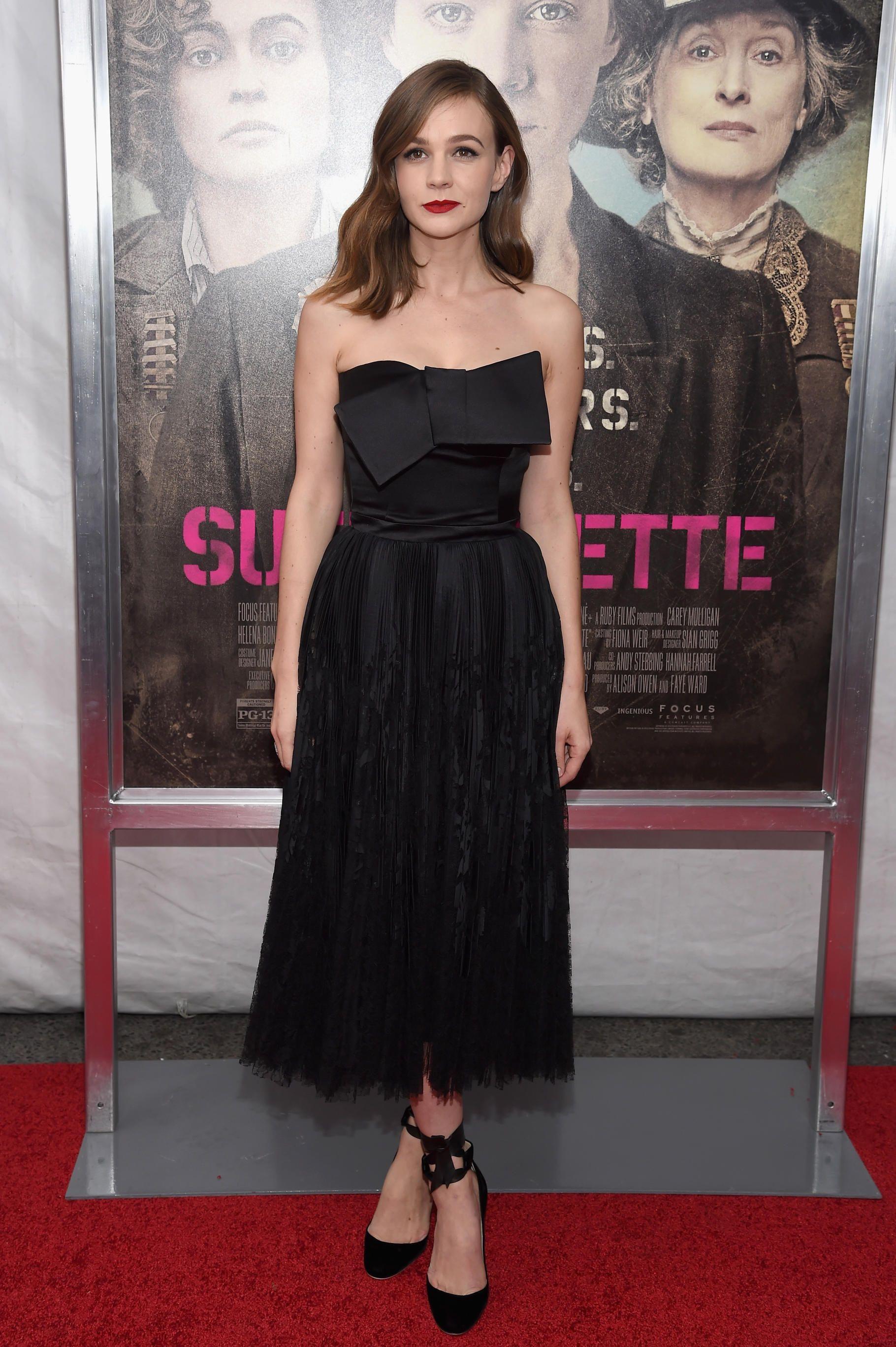"Carey Mulligan in Alexander McQueen at the ""Suffragette"" New York premiere. Photo: Dimitrios Kambouris/Getty Images."