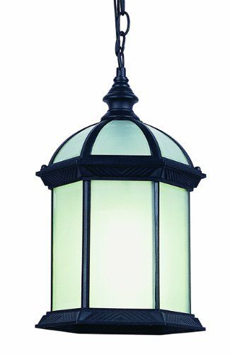 Bel air lighting energy saving outdoor hanging black lantern with frosted bk the home depot