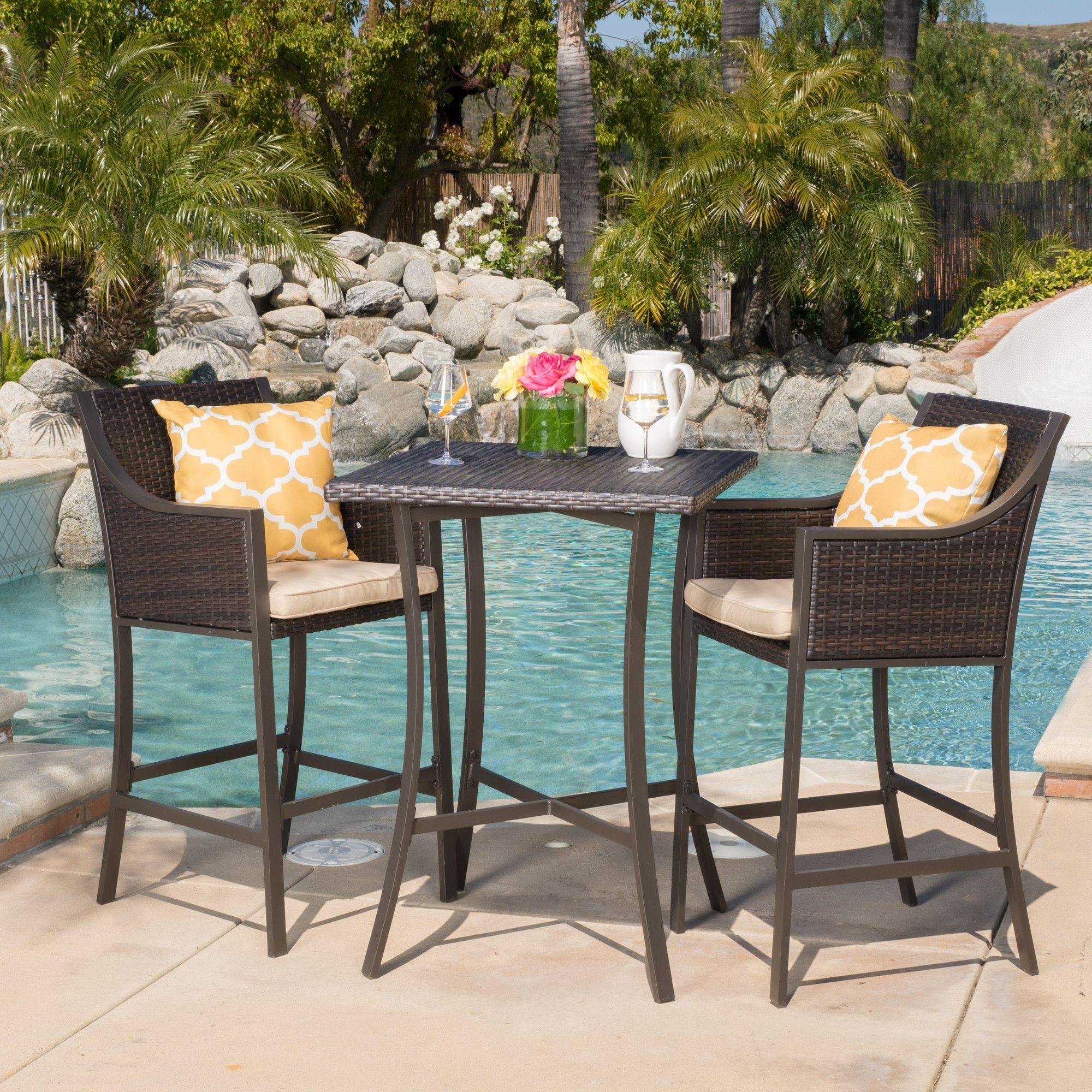 Trinidad 3 Piece Bar Table Set With Cushions