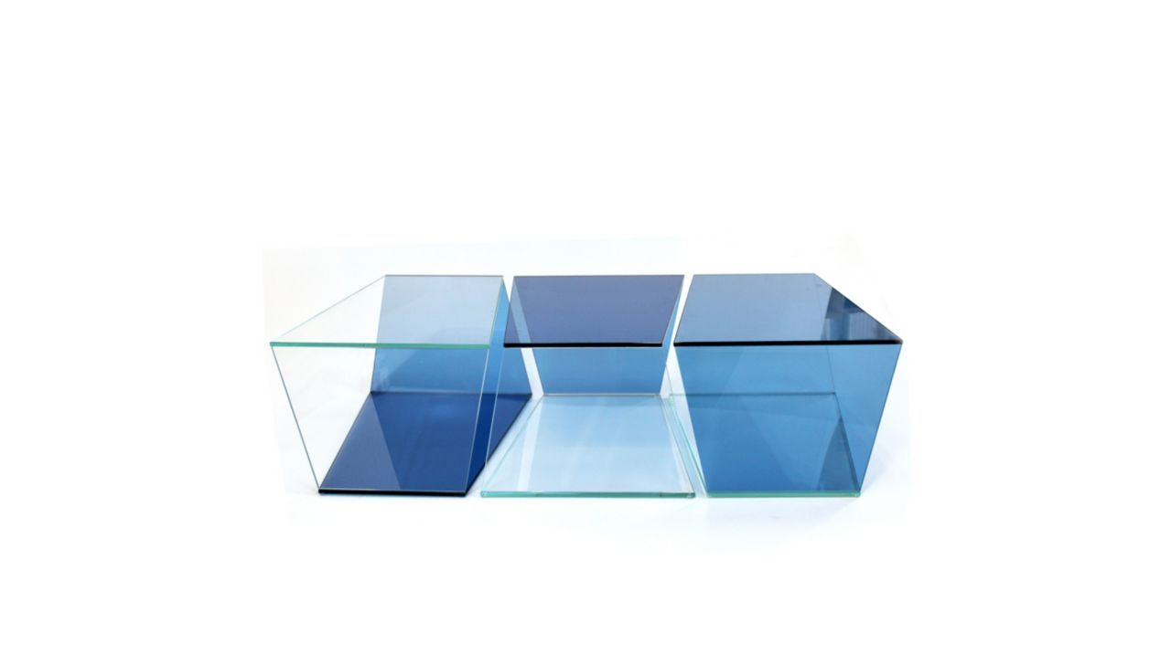 Set Of 3 Tables Cocktail Table In 10 Mm Thick Extra Clear And
