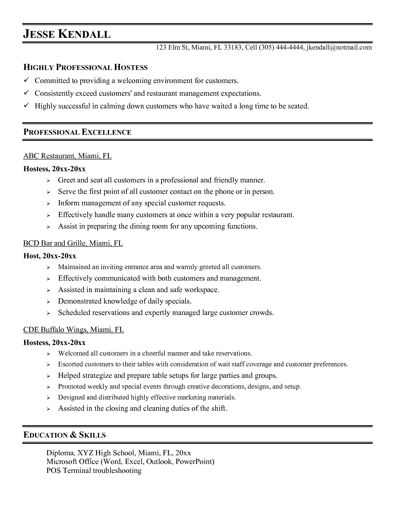 Hostess Resume Samples