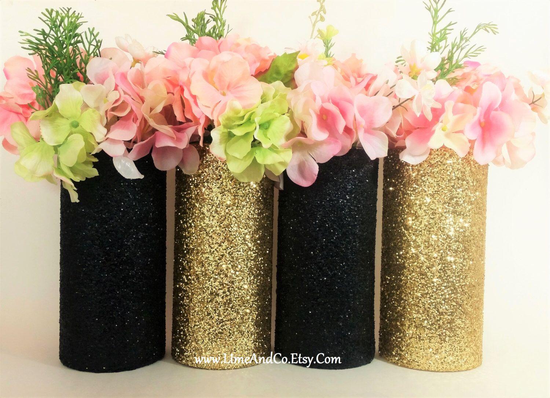 Wedding centerpiece gold decor cylinder vase