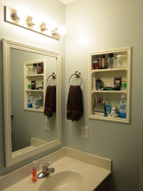 Recessed Shelving In Between Studs Great Idea For My Tiny Bathroom