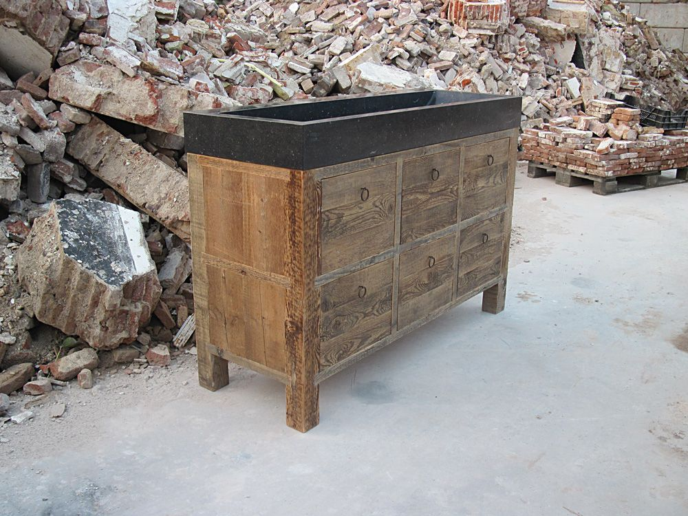 teak badkamermeubel met natuursteen wasbak | Badkamer | Pinterest ...