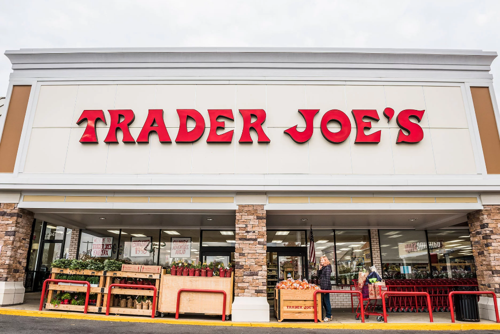 Trader Joes grocery store entrance with sign in 2020