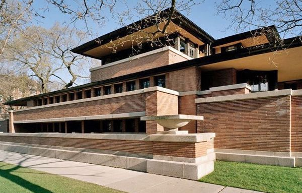 robie house chicago illinois 1910 prairie style frank lloyd wright usa. Black Bedroom Furniture Sets. Home Design Ideas