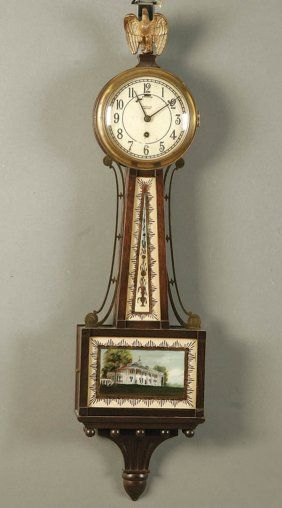 A Tiffany Company Retailed Banjo Clock Early 20th Century Mahogany Case With Reverse Painted Panels Dial Stamped Reverse Painted Clock Antique Wall Clock