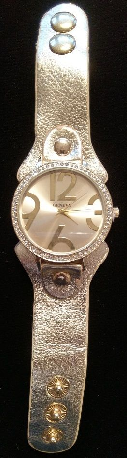 Geneva No:12166L Women's Oversize 3 6 9 12 Wristwatch Yellow Gold Watch *NEW* #Geneva #Casual