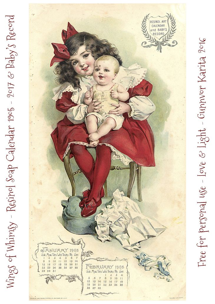 FREE Vintage Resinol Soap Calendar 1905-2017 & Baby's Record