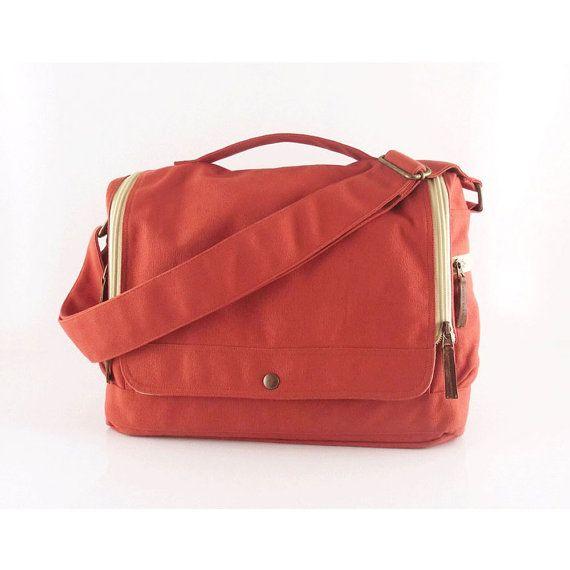 SALE - Messenger bag / laptop / men / orange / canvas messenger bag / shoulder bag / handbag / Wich