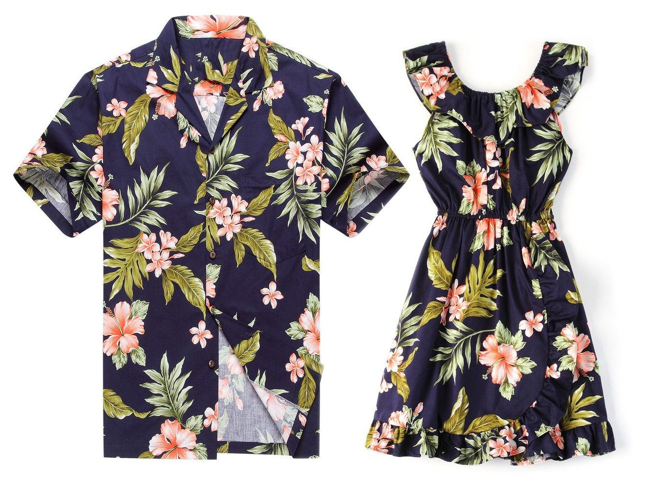 2b571a028676 Made in Hawaii Father Daughter Matching Shirt and Wrap Dress in Navy Pink