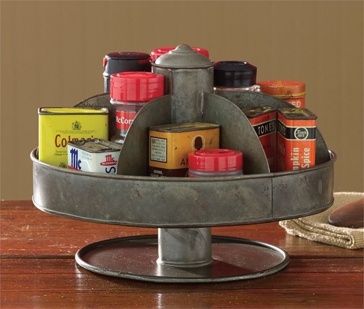 rustic galvanized lazy susan spinner primitive country decor