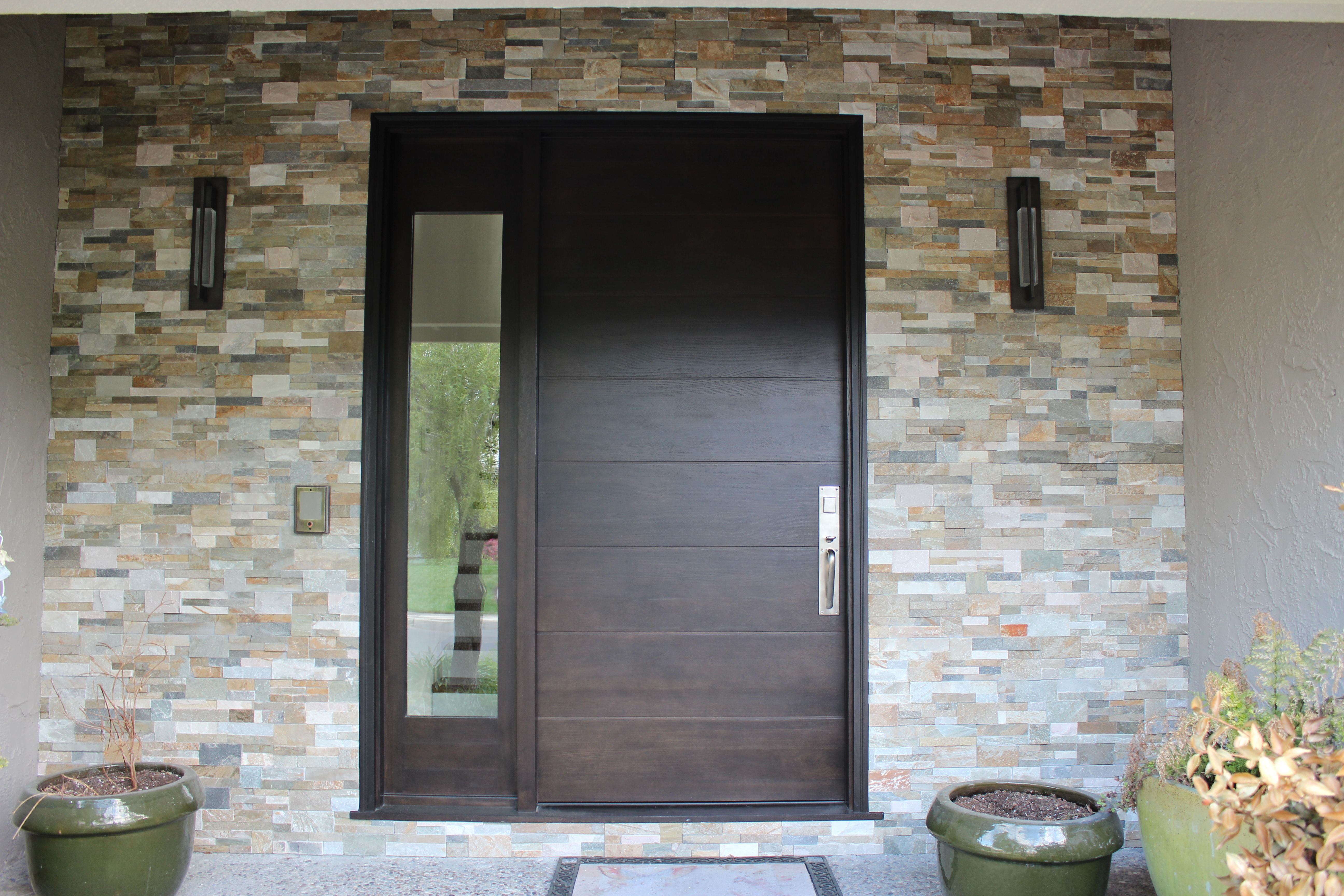 Contemporary Door With Rift Sawn White Oak Entry With Clear