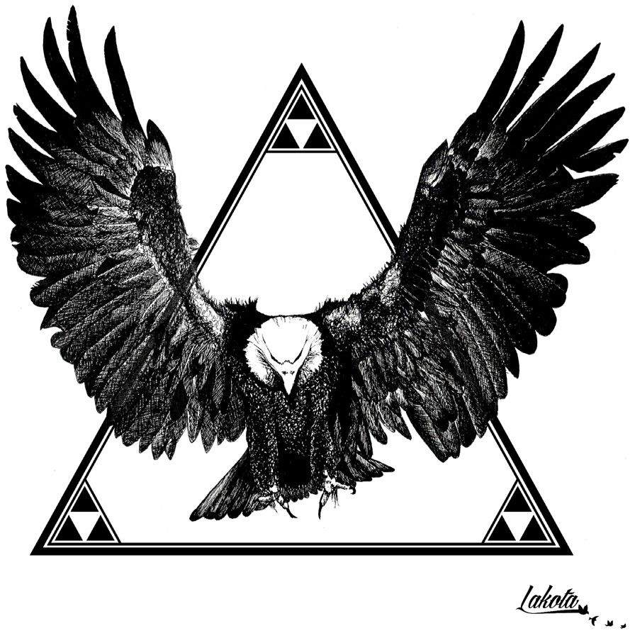 7d7762a61 Eagle Triangle. finished. Made for American Joggs summer 2014. Hand drawn  with fineliner and edited with Photoshop and Illustrator Drawing tattoo Xx-  Lakota
