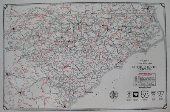 Rare North Carolina Map South Carolina Map 1930 by plaindealing     Rare North Carolina Map South Carolina Map 1930 by plaindealing