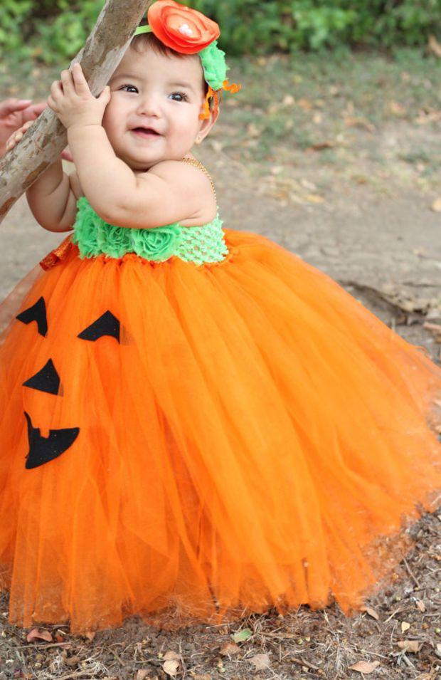 702d10e7b365 Adorable Baby Pumpkin Costume Pumpkin Tutu Dress For Baby Girl 6-18 Months Baby  Halloween