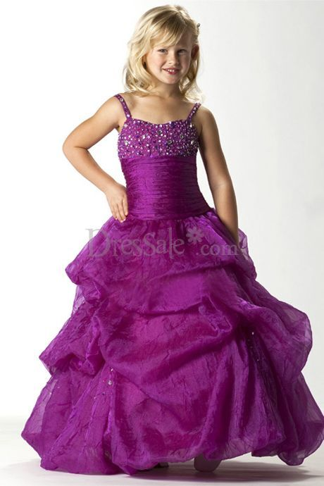 Hugging Bodice Spaghetti Flower Girl Gown
