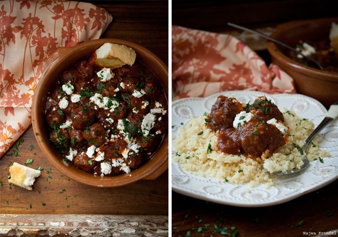 Delicious Shots: Meatballs with Goat Cheese and Couscous