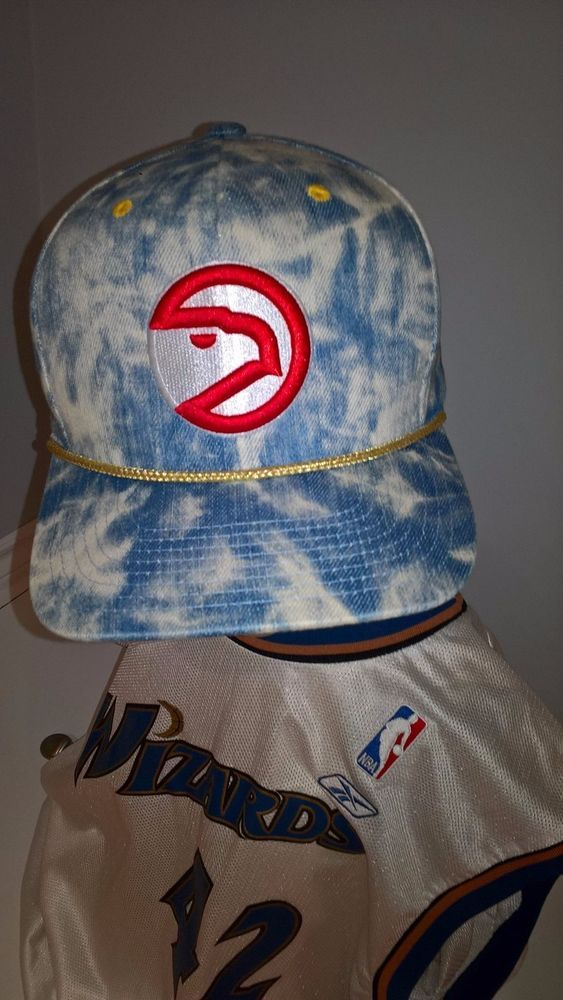 Atlanta Hawks Mitchell Ness Stone Wash Snap Back Cap Gold Trim Hardwood Classics #MitchellNess #AtlantaHawks