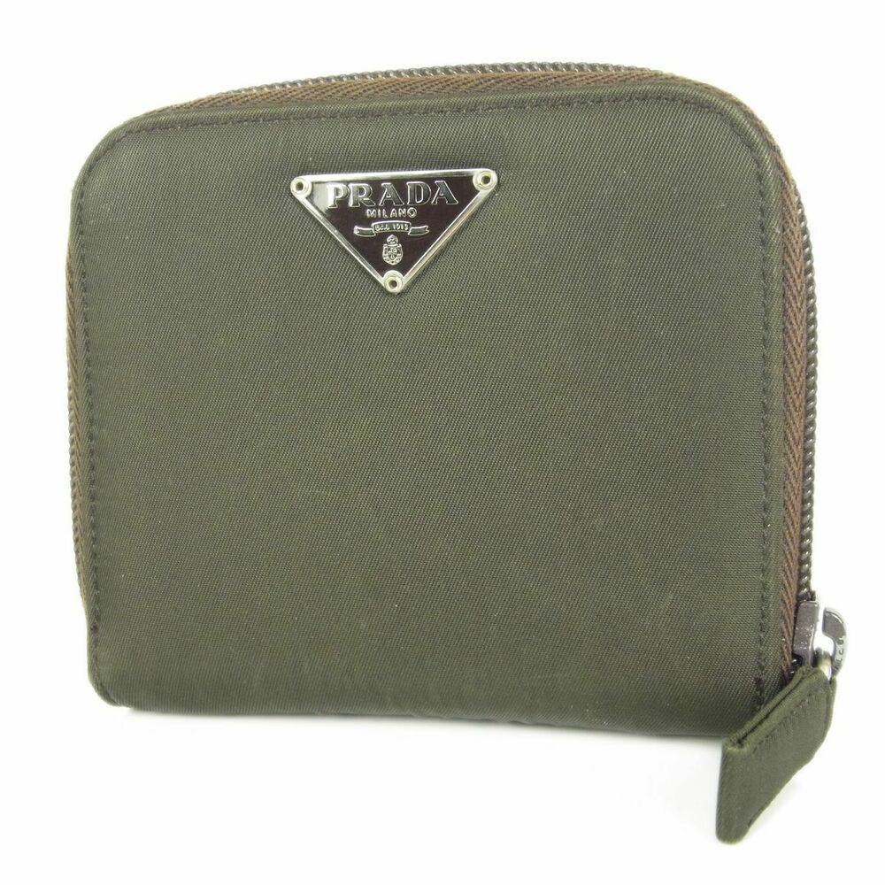 eb069c24911eaf (eBay Ad) Auth PRADA Logos Tessuto Nylon Leather Zip Around Wallet Purse F/