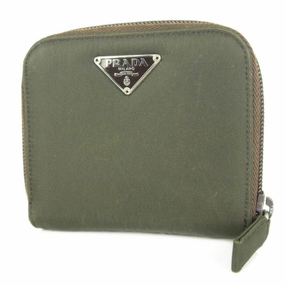 81ec39abf40b (eBay Ad) Auth PRADA Logos Tessuto Nylon Leather Zip Around Wallet Purse F/