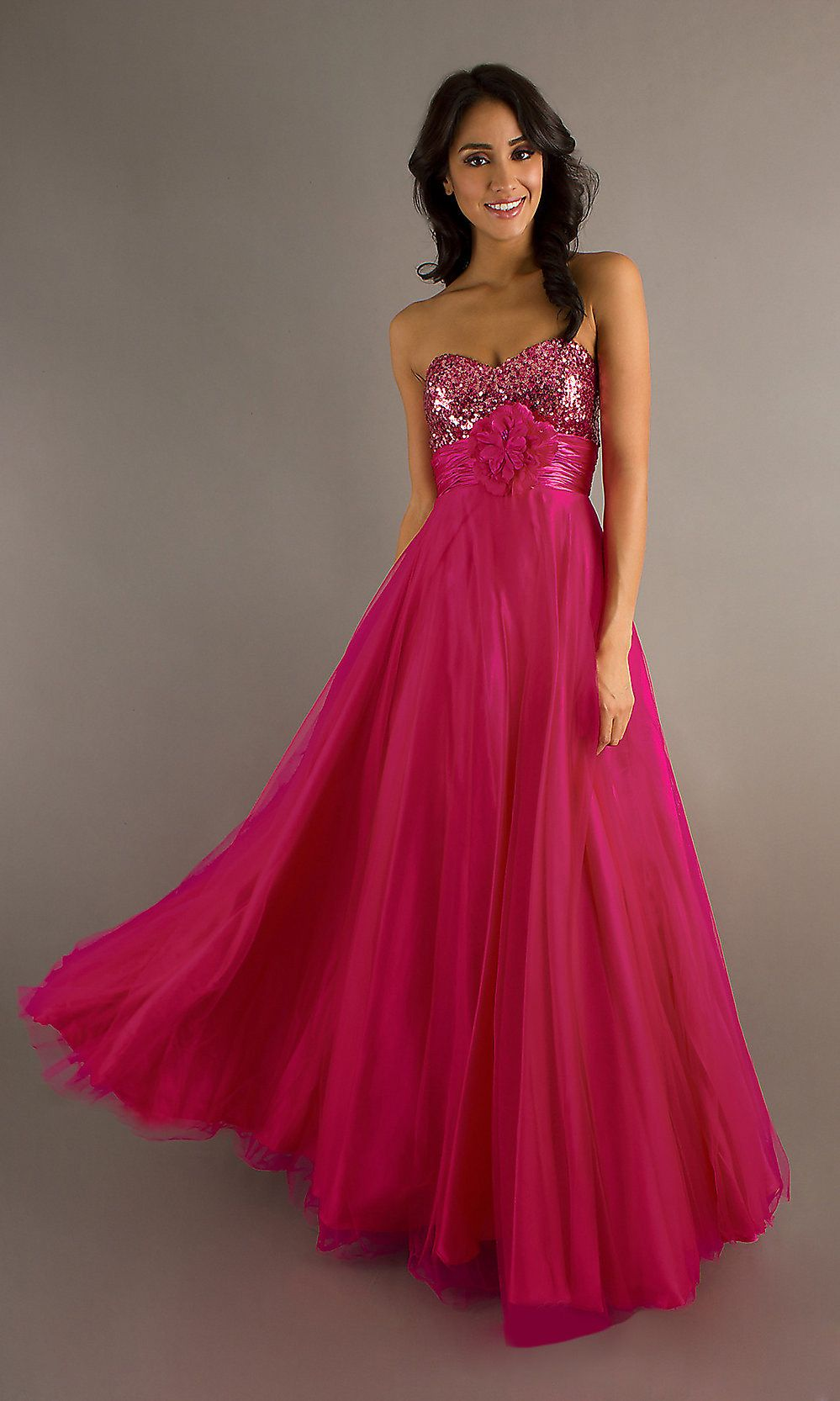 Empire Fuchsia Long Prom Dress Flowy Strapless Sequin Bodice  Prom Dresses  Formal dresses