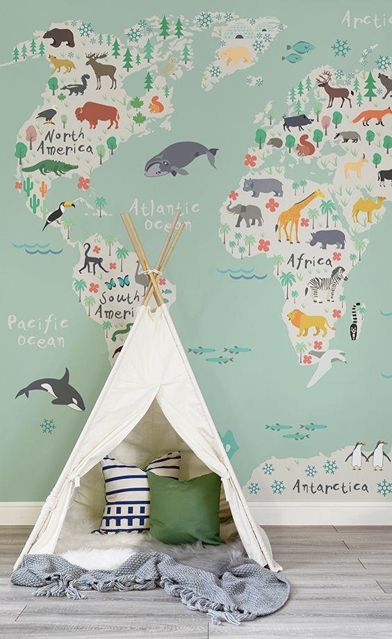 Safari Kids Map Mural Wallpaper Baby Nursery Neutral